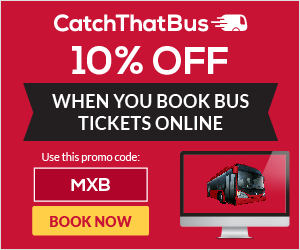 Promo Code: MXB to enjoy 10% off when you book bus ticket online CatchThatBus.com