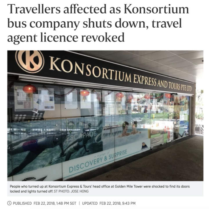 Travellers affected as Konsortium bus company shuts down, travel agent licence revoked - http://www.straitstimes.com/node/459535